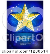 Clipart Of A Golden Christmas Star Over Flares With Sample Text On Blue Royalty Free Vector Illustration