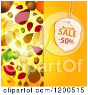 Clipart Of An Acorn Shaped Autumn Sale Discount Tag Over A Panel With Autumn Leaves Royalty Free Vector Illustration by elaineitalia