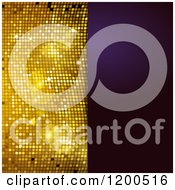 Clipart Of A Sparkly Gold Mosaic And Purple Panel With Text Space Royalty Free Vector Illustration