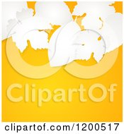 Clipart Of 3d White Paper Leaves Over An Autumn Orange Background With Text Space Royalty Free Vector Illustration by elaineitalia