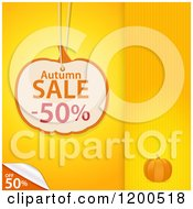 Clipart Of A Pumpkin Shaped Autumn Sale Discount Tag Over Yellow Panels With A Peeling Corner And Copyspace Royalty Free Vector Illustration by elaineitalia