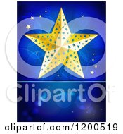 Clipart Of A Golden Christmas Star Over Flares On Blue With Text Space Royalty Free Vector Illustration