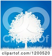 Clipart Of A 3d White Paper Tree And Grass Over Bue Royalty Free Vector Illustration by elaineitalia