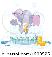 Clipart Of A Cute Purple Elephant Bathing In A Tub Royalty Free Vector Illustration
