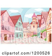 Clipart Of A European Village With A Clock Tower And Brick Road Royalty Free Vector Illustration