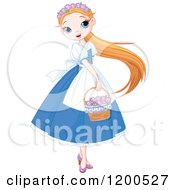 Pretty Girl In A Blue Dress Carrying A Basket Of Flowers