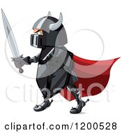 Clipart Of A Knight In Black Armour And A Red Cap Holding A Shield And Sword Royalty Free Vector Illustration