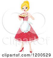 Clipart Of A Pretty Blond Woman An Apron And Polka Dot Dress Holding A Cake Royalty Free Vector Illustration