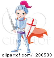 Clipart Of A Cute Magic Prince Knight Boy In Armour With A Shield And Sword Royalty Free Vector Illustration