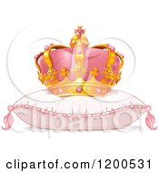 Clipart Of A Pink And Gold Princess Crown On A Fluffy Pillow Royalty Free Vector Illustration
