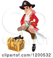 Clipart Of A Tough Pirate Resting A Foot On A Treasure Chest Royalty Free Vector Illustration