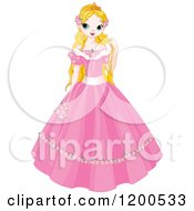 Clipart Of A Pretty Blond Fairy Tale Princess In A Pink Dress Royalty Free Vector Illustration
