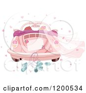 Clipart Of A Rear View Of A Couple Driving Away In A Pink VW Slug Bug Wedding Car Royalty Free Vector Illustration