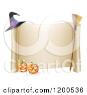 Cartoon Of A Scroll Sign With A Witch Hat Broom And Halloween Pumpkins Royalty Free Vector Clipart
