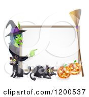 Witch Pointing To A White Board Sign Over A Black Cat And Halloween Pumpkins With A Broom