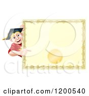 Cartoon Of A Happy Blond Graduate Man Looking Around And Pointing At A Certificate Royalty Free Vector Clipart