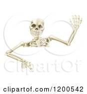 Cartoon Of A Waving Halloween Skeleton Pointing Down At A Sign Royalty Free Vector Clipart