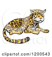 Cartoon Of A Cute Jaguar Resting Royalty Free Vector Clipart by AtStockIllustration
