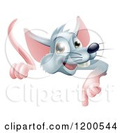 Cartoon Of A Happy Gray Rat Pointing Down At A Sign Royalty Free Vector Clipart by AtStockIllustration