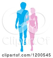 Cartoon Of A Silhouetted Pink And Blue Beach Couple Walking Arm In Arm In Beach Wear Royalty Free Vector Clipart
