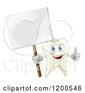 Cartoon Of A Happy Tooth Mascot Holding A Thumb Up And A Sign Royalty Free Vector Clipart