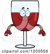 Cartoon Of A Happy Red Wine Glass Character Royalty Free Vector Clipart