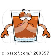 Cartoon Of A Sick Shot Glass Mascot Royalty Free Vector Clipart