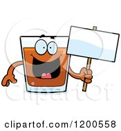 Cartoon Of A Happy Shot Glass Mascot Holding A Sign Royalty Free Vector Clipart