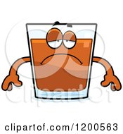 Cartoon Of A Depressed Shot Glass Mascot Royalty Free Vector Clipart