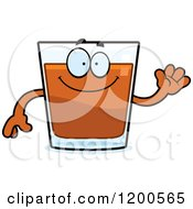Cartoon Of A Friendly Waving Shot Glass Mascot Royalty Free Vector Clipart