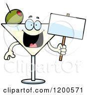 Cartoon Of A Happy Martini Mascot Holding A Sign Royalty Free Vector Clipart by Cory Thoman