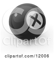 Black Billiards Pool Ball With An X Instead Of An 8 On It Clipart Illustration