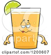 Cartoon Of A Drunk Beer Mascot With A Slice Of Lime Royalty Free Vector Clipart