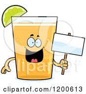 Cartoon Of A Happy Beer Mascot With A Lime Wedge Holding A Sign Royalty Free Vector Clipart by Cory Thoman