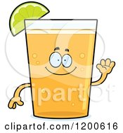 Cartoon Of A Friendly Waving Beer Mascot With A Lime Wedge Royalty Free Vector Clipart by Cory Thoman