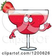Cartoon Of A Friendly Waving Strawberry Daiquiri Mascot Royalty Free Vector Clipart by Cory Thoman