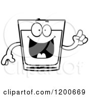 Cartoon Of A Black And White Smart Shot Glass Mascot Royalty Free Vector Clipart
