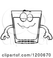 Cartoon Of A Black And White Drunk Shot Glass Mascot Royalty Free Vector Clipart