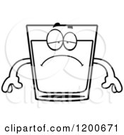 Cartoon Of A Black And White Depressed Shot Glass Mascot Royalty Free Vector Clipart