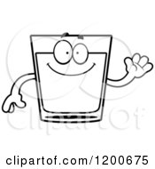Cartoon Of A Black And White Friendly Waving Shot Glass Mascot Royalty Free Vector Clipart
