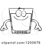 Cartoon Of A Black And White Happy Shot Glass Mascot Royalty Free Vector Clipart
