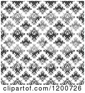 Clipart Of A Black And White Seamless Damask Pattern Royalty Free Vector Illustration