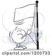 Cartoon Of A Run It Up The Flagpole Moodie Character Over Gray Royalty Free Vector Clipart