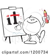 Cartoon Of A Moodie Character Dotting Is And Crossing Ts Royalty Free Vector Clipart