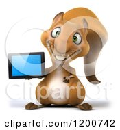 Clipart Of A 3d Happy Squirrel Presenting A Tablet Computer Royalty Free CGI Illustration by Julos