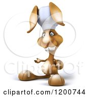 Clipart Of A 3d Chef Bunny Rabbit Presenting Royalty Free CGI Illustration