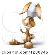 Clipart Of A 3d Chef Bunny Rabbit Pointing Up Royalty Free CGI Illustration