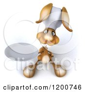 Clipart Of A 3d Chef Bunny Rabbit Holding Up A Plate Royalty Free CGI Illustration