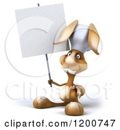 Clipart Of A 3d Chef Bunny Rabbit Holding A Sign Royalty Free CGI Illustration
