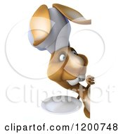 Clipart Of A 3d Chef Bunny Rabbit With A Plate Looking Around A Sign Royalty Free CGI Illustration